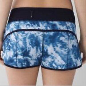 Blue tie dye lululemon speed shorts
